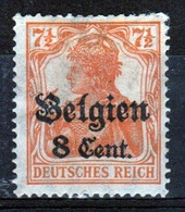 German Occupied Belgium 1916 Single 8c Stamp With Overprints On Germania. - Occupation 1914-18