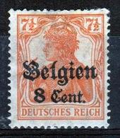 German Occupied Belgium 1916 Single 8c Stamp With Overprints On Germania. - Ocupación 1914 – 18