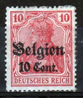 German Occupied Belgium 1916 Single 10c Stamp With Overprints On Germania. - Occupation 1914-18