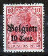 German Occupied Belgium 1916 Single 10c Stamp With Overprints On Germania. - Ocupación 1914 – 18