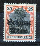German Occupied Belgium 1916 Single 20c Stamp With Overprints On Germania. - Ocupación 1914 – 18