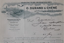 FACTURE 49 SAINT-ANDRE-DE-LA-MARCHE Près CHOLET CHAUSSURES DURAND & CHENE ANNEE 1932 - Textile & Vestimentaire