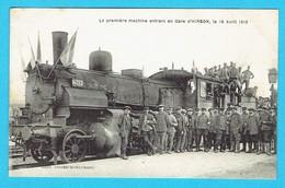 CPA HIRSON - La Première Machine Entrant En Gare , Le 18 Avril 1919 - Train, Locomotive, Chemin De Fer - Hirson
