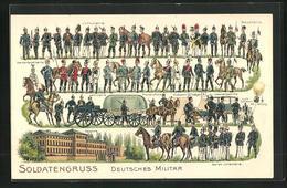 Präge-AK Deutsches Militär, Infanterie, Kavallerie, Artillerie, Ballon Der Luftschiffer-Abteilung - Guerra 1914-18