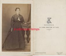 A Voir CDV EGYPTE Vers 1869 Par Le Rare Photographe Justin Kozlowski à Port Saïd-souvenir Du Canal De Suez-jeune Femme - Old (before 1900)