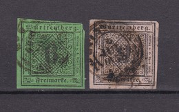 Württemberg - 1851/52 - Michel Nr. 3/4 - Gest. - 90 Euro - Wurttemberg