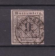 Württemberg - 1851/52 - Michel Nr. 4 - Gest. - 50 Euro - Wuerttemberg