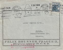Tschechoslowakei / 1937 / Brief Masch.-Stempel PRAHA, Firmenzudruck, Rs. Vignette (AE96) - Cecoslovacchia