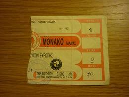 Olympiakos-AS Monaco UEFA Cup Winners Cup Football Game Match Ticket Stub 4/11/1992 - Tickets & Toegangskaarten