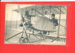 AVIATEUR MARTY Cpa Animée Sur Biplan Caudron - Aviatori