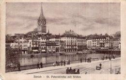 """CPA   SUISSE    ZURICH   ST. PETERSKIRCHE MIT WUHRE-TAMPON ROUGE """" COMITE DES RAPATRIES ZURICH """"-EDIT. GUGGENHEIM-RARE ? - ZH Zurich"""