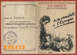 Solidarité Internationale AntifascisteSection FrançaiseAdhérent Groupe Suresnes1938 - Aide Immédiate à L'Espagne - Maps