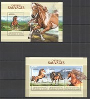 ST1323 2013 GUINEE GUINEA FAUNA WILD ANIMALS WILD HORSES KB+BL MNH - Cavalli