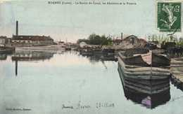 ROANNE (Loire) Le Bassin Du Canal  Peniches Batellerie ,les Abattoirs Et La Poterie Colorisée RV - Roanne