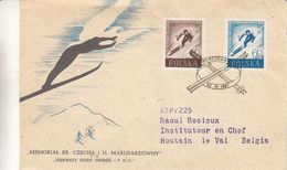 Pologne - Lettre De 1957 - Oblit Warsawa - Exp Houtain Le Val - Ski - - Briefe U. Dokumente
