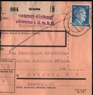 ! 1943 Paketkarte Deutsches Reich, Grimma Nach Leipzig,  Zusammendrucke - Covers & Documents
