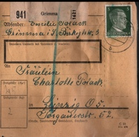 ! 1943 Paketkarte Deutsches Reich, Grimma Nach Leipzig, Zusammendrucke - Allemagne