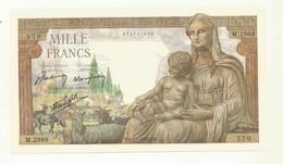 BILLET 1000 F   DEESSE  DEMETER  YN. 7.1 1943.YN  NEUF SPLENDIDE . - 1871-1952 Anciens Francs Circulés Au XXème