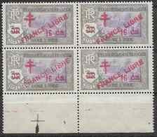1943 INDE FRANCAISE 209** France Libre , Surchargé, Bloc De 4 - Unused Stamps