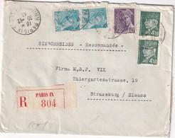 FRANCE 1943 LETTRE RECOMMANDEE CENSUREE DE PARIS AVEC CACHET ARRIVEE STRASSBURG - 1921-1960: Periodo Moderno