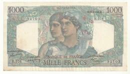 BILLET 1000 F   MINERVE  ET HERCULE  AVEC TROUS EPINGLE  BEL ASPECT CRAQUANT - 1 000 F 1945-1950 ''Minerve Et Hercule''
