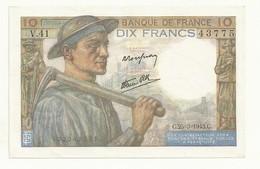 BILLET 10 F   MINEUR  C.25.3.1943.C.  2 TROUS EPINGLE  ASPECT  NEUF SUPERBE. - 1871-1952 Antichi Franchi Circolanti Nel XX Secolo