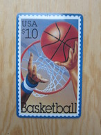 Frist Class Prepaid Phonecard,stamp Of Basketball, Backside With A Magnetic Stripe - Stati Uniti