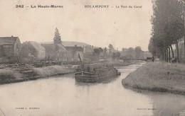 Rare Cpa Rolampont Le Pont Du Canal Animée Avec Péniche - Autres Communes