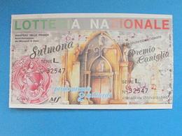 BIGLIETTO LOTTERIA SULMONA 1992 - FDS PERFETTO - Biglietti Della Lotteria