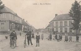 Rare Cpa Caix Rue Des Rosières Très Belle Animation Hommes Avec Vélos - France
