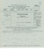 562/31 -- RUANDA-URUNDI - Formule De Télégramme BUKAVU 1958 Vers KIGALI T.S.F. - Ruanda-Urundi