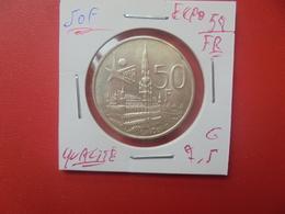 """Baudouin 1er. 50 Francs """"EXPO 1958"""" FR. ARGENT. TRES BELLE QUALITE (A.1) - 1951-1993: Baldovino I"""