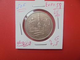 """Baudouin 1er. 50 Francs """"EXPO 1958"""" VL ARGENT. TRES BELLE QUALITE (A.1) - 1951-1993: Baldovino I"""