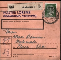 ! 1943 Paketkarte Deutsches Reich, Großenhain Nach Plessa, Zusammendrucke - Lettres & Documents