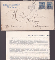 Lettre USA - Fifth Avenue Hotel - New York - 1904 + American And European Plans Fifth Avenue Hotel, Madison Square, N.Y - Etats-Unis
