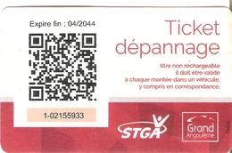 TITRE DE TRANSPORT TICKET BUS ANGOULEME DEPANNAGE STGA - Bus