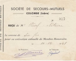 RECU DE LA SOCIETE DE SECOURS MUTUEL- COLOMBE - ISERE 38 -1941 - VIEUX PAPIERS - Autres