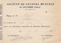 RECU DE LA SOCIETE DE SECOURS MUTUEL- COLOMBE - ISERE 38 -1940 - Autres