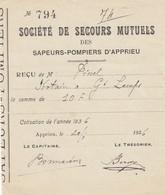 RECU DE LA SOCIETE DE SECOURS MUTUEL DES SAPEURS POMPIERS - APPRIEU - ISERE 38 -1936 - VIEUX PAPIERS - Autres