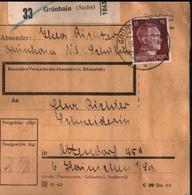 ! 1943 Paketkarte Deutsches Reich, Grünhain In Sachsen ( NSV ) Nach Altendorf, Zusammendrucke - Briefe U. Dokumente