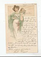 """MUCHA """"SERIE DESSINS DE MENUS"""" FEMME A PLAT RECOUVERT N°58    1901 - Mucha, Alphonse"""