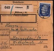 ! 1943 Paketkarte Deutsches Reich, Güstrow In Mecklenburg Nach Hainichen, Zusammendrucke - Covers & Documents