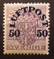 SVERIGE SWEDEN SUEDE ,1920  LUFTPOST Poste Aérienne Airmail,  Yvert No 3, 50 Sur 4 O Violet Neuf * MH , TB - Unused Stamps