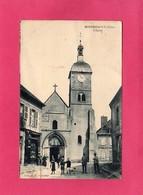 03 Allier, MONTMARAULT, L'Eglise, Animée, Commerces, 1923, (M. J. Foucrier) - Otros Municipios