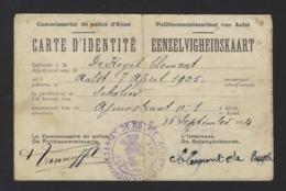 EENZELVIGHEIDSKAART * PASPOORT * DE KEGEL CLEMENT * POLITIE AALST * 1914 * INSPECTEUR IN BLANKENBERGE 20/9/1914 - Documents Historiques