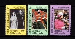 ANTIGUA    1982   60th  Birthday  Of  Q E 11     Set  Of  3    MNH - Antigua And Barbuda (1981-...)