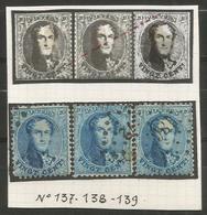 Belgique - Médaillons Dentelés - N°15A - Variété V5 Balasse Griffe En Travers De 3 Timbres -  Dont LP186 HUY - 1863-1864 Medaillen (13/16)