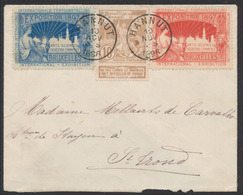 """Expositions - N°72 + 2 Vignettes """"Expositon De Bruxelles 1897"""" Obl Simple Cercle """"Hannut"""" Vers St-Trond. TB - 1894-1896 Expositions"""