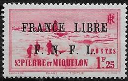 1941 - 1942 Saint Pierre Et Miquelon N° 264  Nf** . MNH . Surcharge France Libre. - Neufs