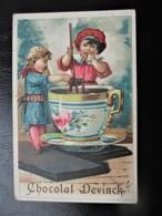 Chromo Chocolat DEVINCK_2 Enfants Devant Une Grosse Tasse De  De Chocolat Fondant - Chocolate